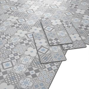 ARTENS - PVC Bodenbelag - Click Vinylboden- Zementfliesen Muster - Blau-grau/Weiß - 1,49m2/8 Fliesen