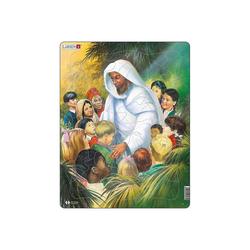 Larsen Puzzle Rahmen-Puzzle, 32 Teile, 36x28 cm, Jesus mit, Puzzleteile
