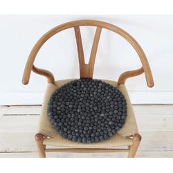 Wooldot Sitzkissen Uni Color, rund, Filzkugel-Teppich, reine Wolle, auch als Set bestellbar grau