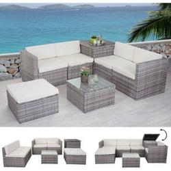 Poly-Rattan-Garnitur MCW-D21, Gartengarnitur Sofa Set ~ grau, Kissen creme ohne Deko-Kissen