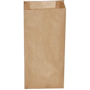 Papierfaltenbeutel Papiertüten braun 14+7 x 29 cm für ca. 1,5kg Inhalt, 100 Stk.