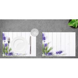 Platzset, Tischset I Platzset - Blumen - Lavendel - 12 Stück aus hochwertigem Papier in Aufbewahrungsmappe, perfekt für Frühlingsdekoration, Tischsetmacher, (12-St)