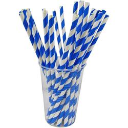 Papiertrinkhalme Trinkhalme aus Papier, blau/weiß, Ø6mm, 21cm, 100 Stk.