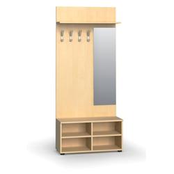 Garderobenwand, schuhregal + spiegel, 4 haken, ablage, birke