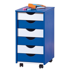 ebuy24 Kommode Bepe Kommode Rollcontainer, 6 Schubladen blau, wei