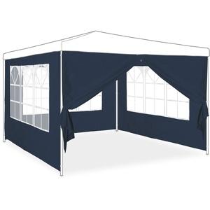 Relaxdays Seitenwand für Pavillon 4er Set, 2x3m, Seitenteile, Fenster & Reißverschluss, wasserdicht, PE-Kunststoff, blau