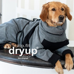 fit4dogs Dryup Body zip.fit Hundebademantel, Rückenlänge 65 cm, grau