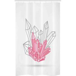 Abakuhaus Duschvorhang Badezimmer Deko Set aus Stoff mit Haken Breite 120 cm, Höhe 180 cm, Geometrisch Zipfelkristallfiguren rosa