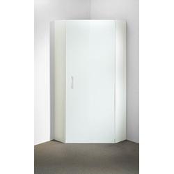 Eckschrank in weiß mit 1 Tür und 5 Einlegeböden, Maße: B/H/T ca. 80/185/80 cm