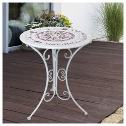 etc-shop Gartentisch, Kleiner Gartentisch Retro Beistelltisch Metall Kompass Balkontisch klein rund, Eisen weiß, DxH 60 x 70 cm