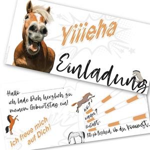 12 Einladungskarten Kindergeburtstag Pferd,Die Kinder Geburtstagseinladung für alle Pferdebegeisterten Mädchen und Jungen (12 Einladungskarten mit 12 weißen Kuvert)