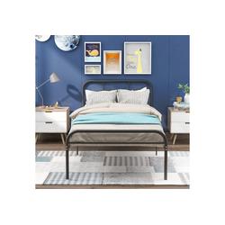 Merax Metallbett, Einzelbett Jugendbett, Metallbettrahmen, Schlafzimmerbett, Bettrahmen für Wohnzimmer 90 cm x 205 cm