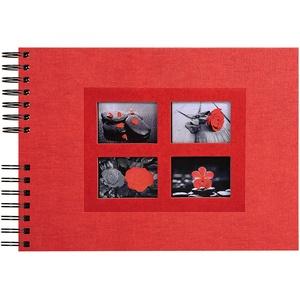 Exacompta 16245E Premium Fotoalbum Passion mit 50 schwarzen Seiten, perfekt für Ihre Fotos zum selbstgestalten Fotobuch Spiralalbum rot