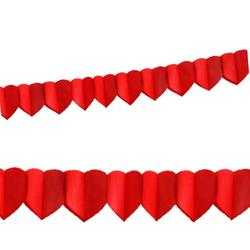 Papier-Girlande HERZEN rot, schwer entflammbar 4 m x 18 cm