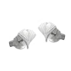 unbespielt Paar Ohrstecker Ohrringe Ohrstecker 7 mm Ginkgoblatt matt 925 Silber inklusive Schmuckbox, Silberschmuck für Damen