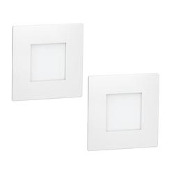 LED Treppen-Licht FEX Treppen-Leuchte, weiß, eckig, 8,5x8,5cm, 230V, rot, 2 Stk.
