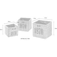 Home Affaire Pflanzkübel Rattan Set quadratisch 3-tlg. grau
