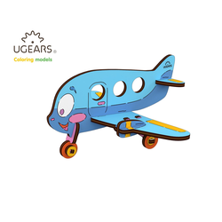 UGEARS 3D-Puzzle UGEARS Holz 3D-Puzzle Modellbausatz FLUGZEUG, 15 Puzzleteile
