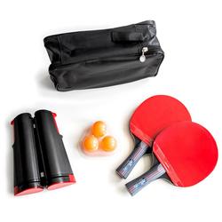 PRECORN Tischtennisschläger 2 x Tischtennisschläger + Tischtennisbälle + Tragetasche + ausziehbares Tischtennisnetz Tischtennis-Set (Set)