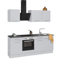 wiho Küchen Küchenzeile Ela, ohne E-Geräte, Breite 220 cm grau