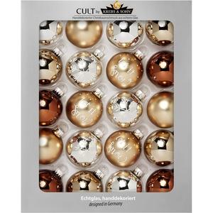 Krebs & Sohn Heitmann Deco 20er Set Glas Christbaumkugeln-Weihnachtsbaum Deko zum Aufhängen-Weihnachtskugeln 5,7 cm - Gold, Braun/Silber