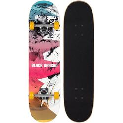 LeNoSa Skateboard Black Dragon Double Kicktail Skateboard • 8 Schichten Ahornholz • Aluminium 79x20cm • ABEC 5 bunt