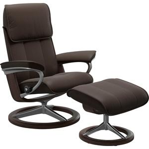 Stressless® Relaxsessel Admiral (Set, Relaxsessel mit Hocker), mit Hocker, mit Signature Base, Größe M & L, Gestell Wenge braun 93 cm x 113 cm x 79 cm