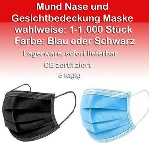 Maske Nase Mund Gesichtsbedeckung Einweg 3-lagig 1-1000 Blau Schwarz für DE & EU