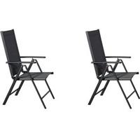 PKline Kelly Gartenstuhl 55 x 68 x 105 cm schwarz/grau 2 Stück