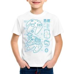 style3 Print-Shirt Kinder T-Shirt N64 Controller Blaupause 64-Bit Videospiel weiß 128
