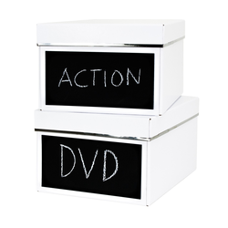 2er Set DVD Box - Emelie - weiß - mit Kreidetafel