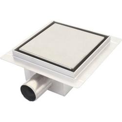 Duschablauf MCW-D95a, Bodenablauf Abflussrinne Bad, Edelstahl Siphon ~ 20x20cm