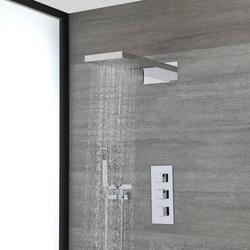Duschsystem mit Thermostat, schmalem Regen/Wasserfall-Duschkopf und Handbrauseset – Chrom – Kubix, von Hudson Reed