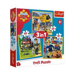 Trefl GmbH Puzzle Trefl 34844 - Feuerwehrmann Sam, 3 in 1 Puzzle /, 36 Puzzleteile