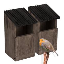 BigDean Nistkasten Rotkehlchen Nest Vogelhaus aus Natur Holz Braun Grau