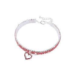 TOPMELON Tier-Halsband, Legierung, Hundehalsband, Kristallkragen & Glänzender Heller Kristalldiamant rot L