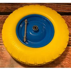 TRIZERATOP Sackkarre Ersatzrad Schubkarrenrad Polymer mit Achse -gelb