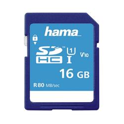 Hama SDHC Speicherkarte 16 GB Class, 10 UHS-I 80MB/s Speicherkarte SD Memory Card
