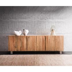 DELIFE Sideboard Live-Edge 220 cm Akazie Natur massiv 6 Türen, Sideboards, Baumkantenmöbel, Massivholzmöbel, Massivholz
