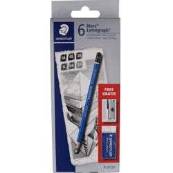 Staedtler Mars® Lumograph Bleistift Set , Bleistift, 1 Set = 6 Bleistifte + 1 Radierer + 1 Metallspitzer