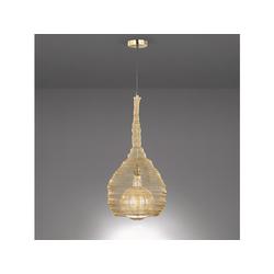 FISCHER & HONSEL LED Pendelleuchte, mit Lampen-Schirm aus Draht-Geflecht, Gitter-Lampen für über Esstisch-Lampen, Vintage, Esszimmer, Wohnzimmer, Galerie, Hängelampe Couch-Tisch goldfarben Ø 35 cm