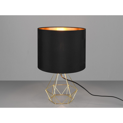meineWunschleuchte Nachttischlampe, Industrie-Design Gitter-Lampe mit Stoff-Lampenschirm schwarz gold