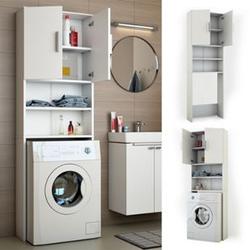 VICCO Waschmaschinenschrank 190 x 64 cm Weiß - Badregal Regal Hochschrank für Waschmaschine Trockner