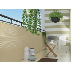 dynamic24 Balkonsichtschutz Polyrattan PVC Sichtschutzmatte 300x100 Balkon Sichtschutz Zaun Windschutz gelb