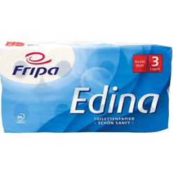 Fripa Edina Toilettenpapier, 3-lagig, Aus 100% chlorfrei gebleichtem Zellstoff, hochweiß, 1 Palette = 16 Pakete = 144 Packungen = 1.152 Rollen