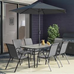 GRADE A1 - Black & Grey Metal 6 Seater Garden Furniture Set - Parasol Included