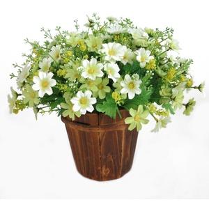 ALCYONEUS 1 Blumenstrauß mit 28 künstlichen Gänseblümchen, künstliche Blumen, Hochzeit, Garten, Heimdekoration (weiß)