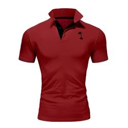 behype Poloshirt PALMSON mit kontrastfarbigen Details rot XL