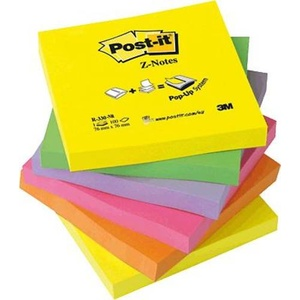 Post-it® Haftnotizen Z-Notes Neon R330NR 76x76mm neon sortiert Inh.6