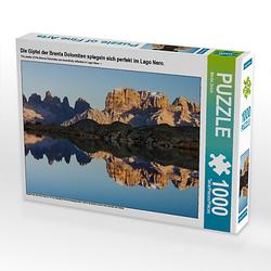 Die Gipfel der Brenta Dolomiten spiegeln sich perfekt im Lago Nero. Lege-Größe 64 x 48 cm Foto-Puzzle Bild von Martin Zwick Puzzle